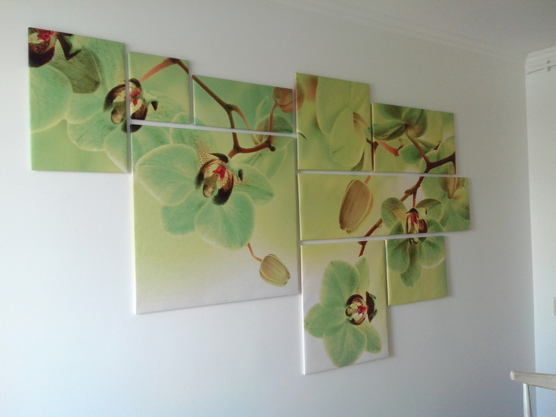 Модульная картина, орхидеи, холст, 9 модулей